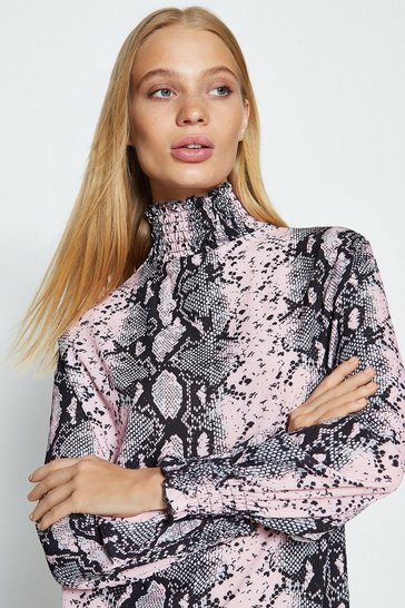 Pink Shirred Collar Snake Print Short Dress