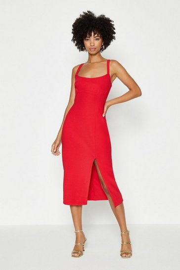 Red Cami Midi Dress