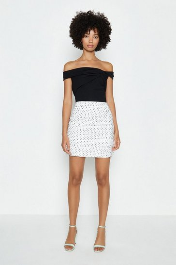 Ivory Spotty Mini Skirt