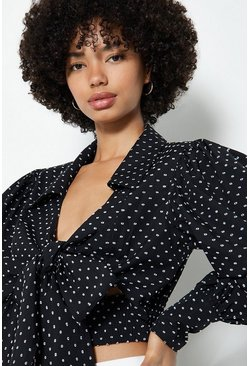 Black Polkadot Tie Front Top