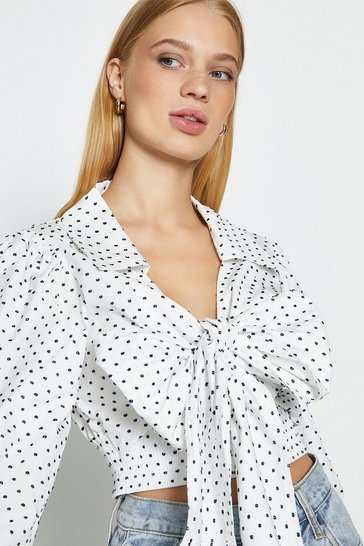 Ivory Polkadot Tie Front Top