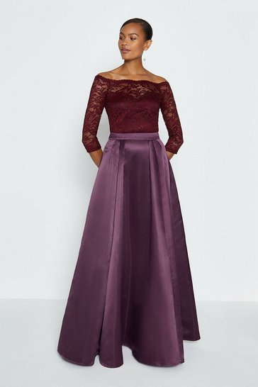 Aubergine Structured Satin Maxi Skirt