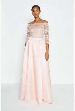 Blush Structured Satin Maxi Skirt