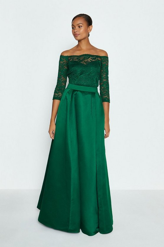 Forest Structured Satin Maxi Skirt