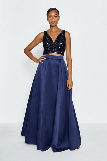 Navy Structured Satin Maxi Skirt