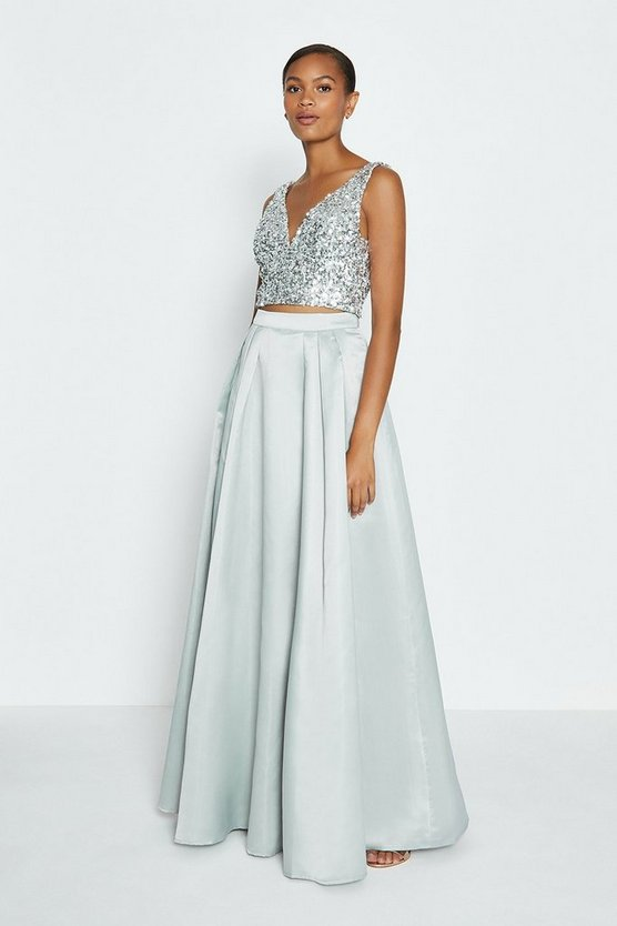 Silver Structured Satin Maxi Skirt