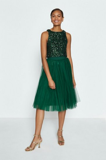 Forest Tulle Short Skirt