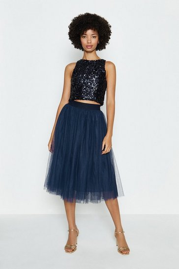 Navy Tulle Short Skirt
