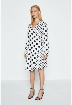 Mono Long Sleeve Spot Wrap Dress