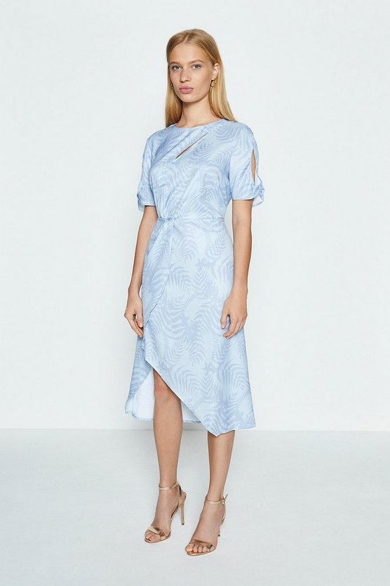 Blue Jacquard Twist Midi Dress