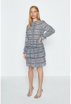 Grey Snake Print Tiered Dress