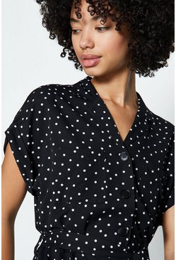 Black Spot Button Front Jumpsuit
