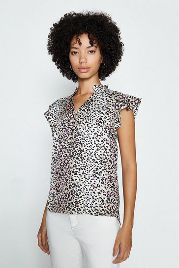 Pink Animal Print Frill Sleeve Top