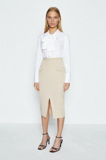 Tan Pocket Split Front Skirt