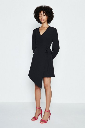 Black Long Sleeve Short Wrap Dress