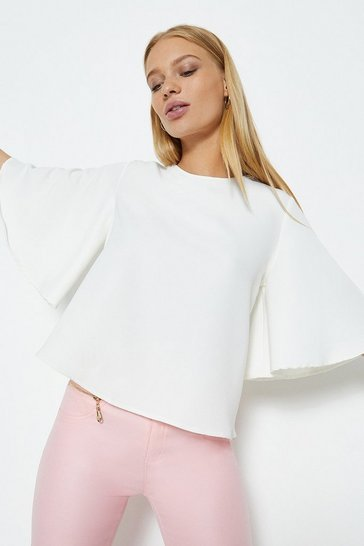 Ivory Fluted Sleeve Crop Top