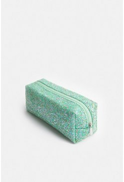 Teal Glitter Make Up Bag