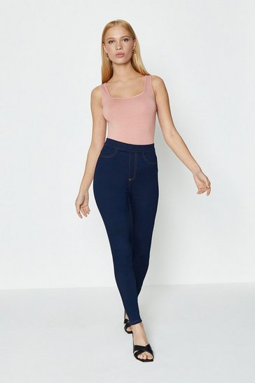 Indigo Skinny Button Detail Jegging