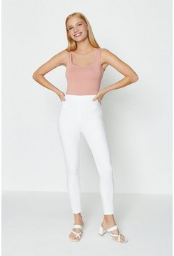 White Skinny Button Detail Jegging
