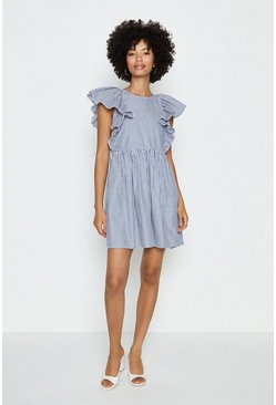 Blue Frill Front Mini Dress