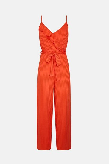 Orange Jersey Ruffle Jumpsuit