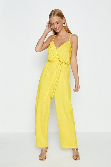 Yellow Jersey Ruffle Jumpsuit