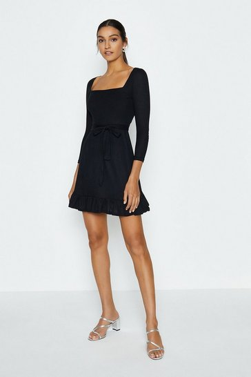 Black Jersey Flippy Hem Dress