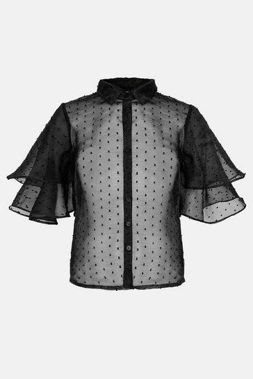Black Spot Puff Sleeve Shirt
