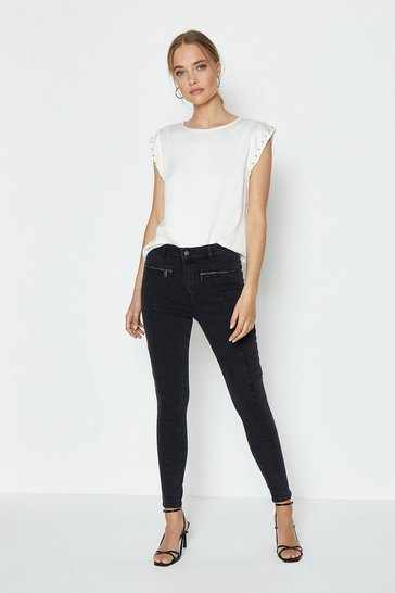 Black Washed Biker Stretch Skinny Jean