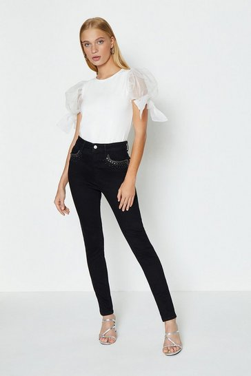 Black Embellished Stretch Skinny Jeans