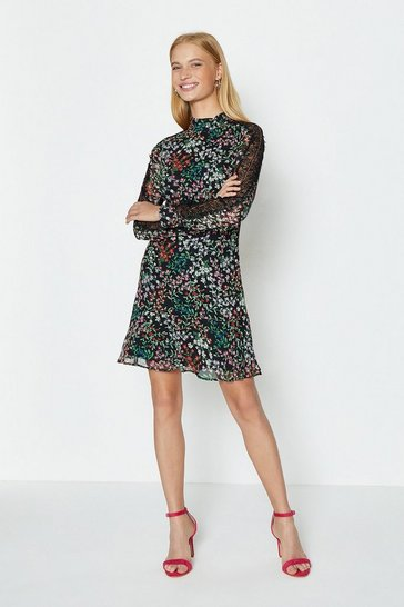 Multi Long Sleeve Flippy Hem Shift Dress