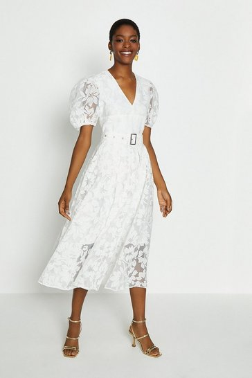 Ivory Deep V Puff Sleeve Midi Dress