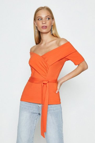 Orange Bardot Tie Front Ponte Top
