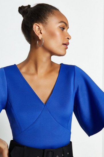 Cobalt V-Neck Flare Sleeve Scuba Top