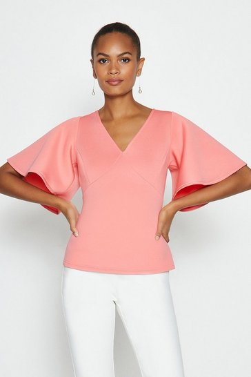 Coral V-Neck Flare Sleeve Scuba Top