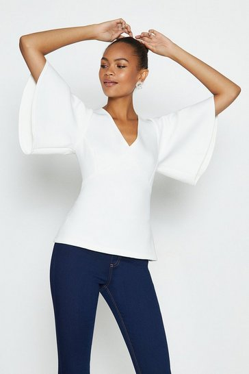 Ivory V-Neck Flare Sleeve Scuba Top