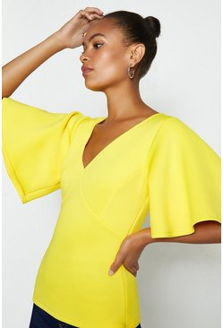 Yellow V-Neck Flare Sleeve Scuba Top
