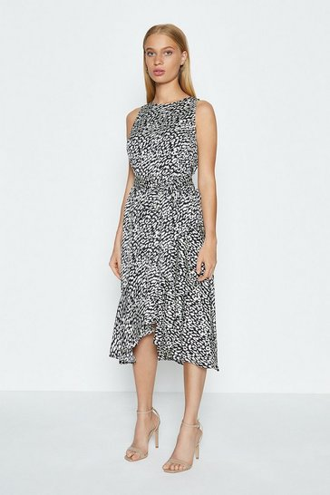 Mono Animal Printed Tie Waist Midi Dress