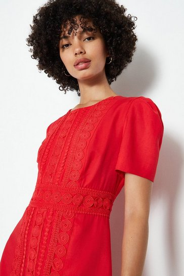 Red Puff Sleeve Ruffle Hem Mini Dress