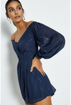 Navy Sweetheart Neck Bardot Playsuit