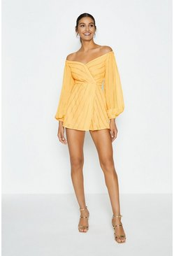 Yellow Sweetheart Neck Bardot Playsuit