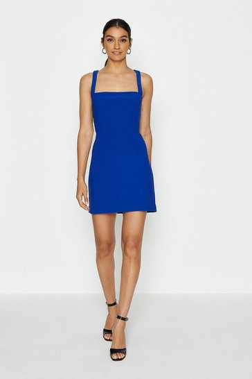 Cobalt Cross Back Mini Dress