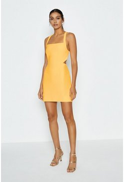 Yellow Cross Back Mini Dress