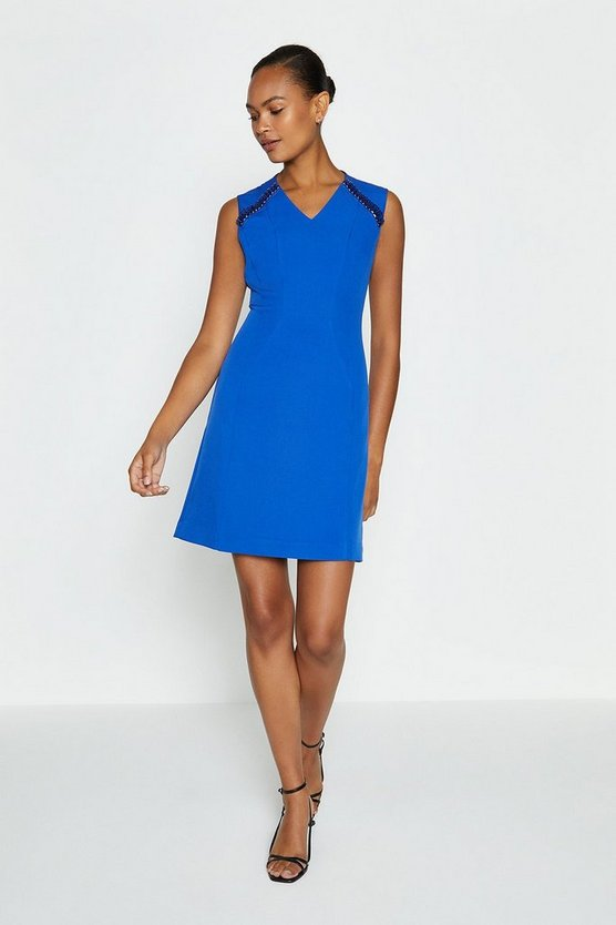 Cobalt V Neck Trim Dress