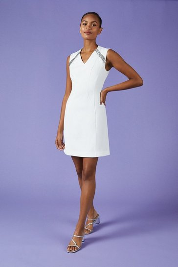 Ivory V Neck Trim Dress
