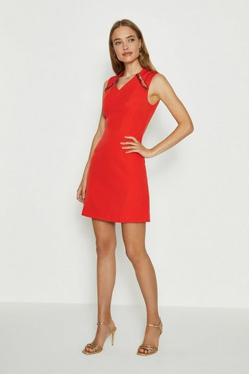 Orange V Neck Trim Dress