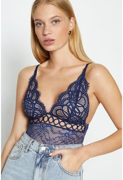 Navy V-Neck Front Detail Lace Body