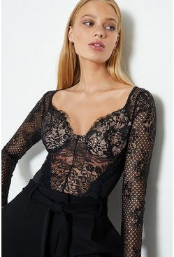 Black Long Sleeve Lace Detail Body