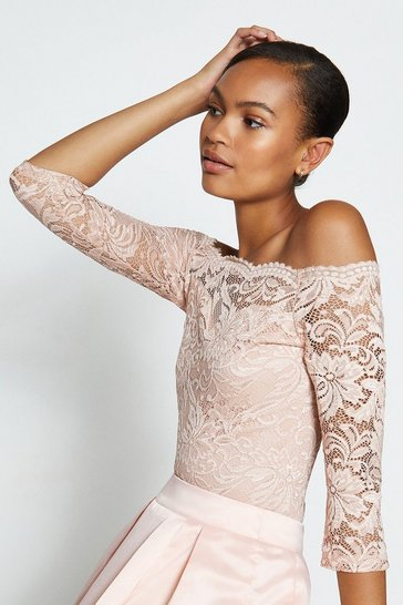 Blush Off the Shoulder 3/4 Sleeve Lace Body