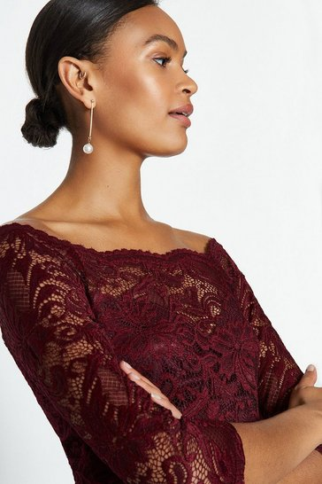 Merlot Off the Shoulder 3/4 Sleeve Lace Body